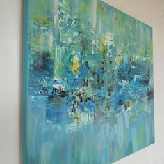 Blue Abstract Painting on Canvas Acrylic Original Art