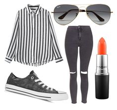 """Untitled #36"" by my-names-ella on Polyvore featuring Topshop, MAC Cosmetics, Ray-Ban and Converse"