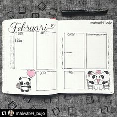 Pandas. Need I say more?  Repost @malwal94_bujo with @repostapp ・・・ Is it sad to have a Valentine themed monthly when your single?  Haha, I just like Valentine's Day for some reason! - I stuck to my regular monthly layout for February, why change something that works, right? - I still have to fill in the rest of all appointments.. The pandas are from Pinterest, I need to learn to draw from my own fantasy and not others