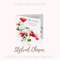 Stijlvolle en chique kaart voor een 50 jarig jubileum om zelf te maken. Een feestelijke uitnodiging in waterverf met bloemen voor een huwelijksjubileum van zoveel jaar getrouwd.