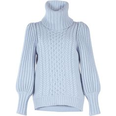 Temperley London Shade Cable-Knit Sweater ($975) ❤ liked on Polyvore featuring tops, sweaters, blue, chunky cable knit turtleneck sweater, turtle neck sweater, blue turtleneck, cable-knit sweater and polka dot sweater