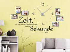 Wandtattoo Uhr Familienzeit mit Fotorahmen