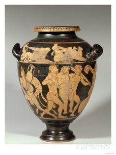 Stamnos, Dionysiac Scene, Etruscan Red-Figured Period, 4th Century BC Lámina giclée