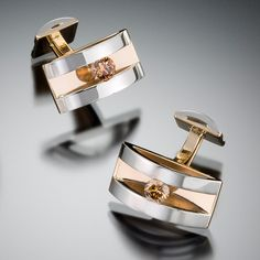 Adam Neeley Fine Art Jewelry - Forte          Strength and Structure.  These striking cufflinks feature .67 carats of champagne diamonds set in 14kt white and 14kt yellow gold.
