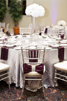 silver linens, silver chiavari chairs