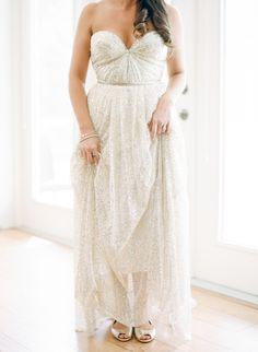 Gorgeous shimmery wedding dress: http://www.stylemepretty.com/florida-weddings/sebring/2016/02/09/romantic-at-home-wedding/ | Photography: Kt Crabb - http://ktcrabbphotography.com/