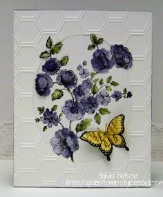 Sylvia's Stamping Corner: FEBRUARY FLOWERS AND A BUTTERFLY!