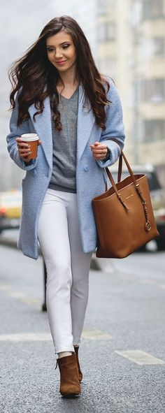 """Grey + White + Brown works with blue too!  // Pinning ONLY FOR THE COLOR!  I love that """"icy blue""""!  Spring Pastels: Serenity"""