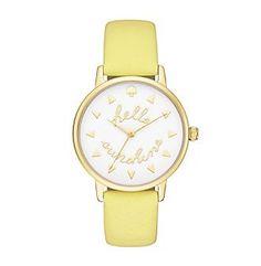 kate spade new york® Women's Goldtone Metro Hello Sunshine Lemonade Leather Watch