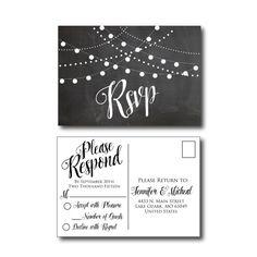 Chalkboard Wedding RSVP Postcards by ClearyLaneWeddings