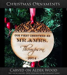 Our First Christmas as Mr. & Mrs. Glass Ornament by LilyLuGifts ...