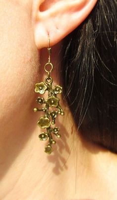SALE Buy 2 FREE 1   Bronze long flower sakura twig earrings Flower Jewelry by Lovelyblackpanther #TrendingEtsy