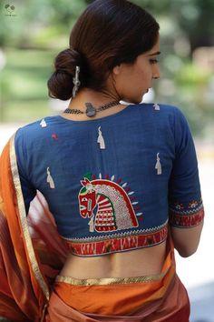 The Kala Ghoda Blouse from Queen of Hearts by Deepa Mehta 2020 Kalamkari Blouse Designs, Saree Blouse Patterns, Pattu Saree Blouse Designs, Stylish Blouse Design, Fancy Blouse Designs, Designer Blouse Patterns, Blouse Desings, Queen, Embroidered Blouse