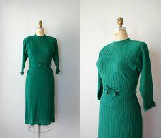 Vintage 1950s Green Boucle Knit Wool Dress Set by Sweetbeefinds, $148.00