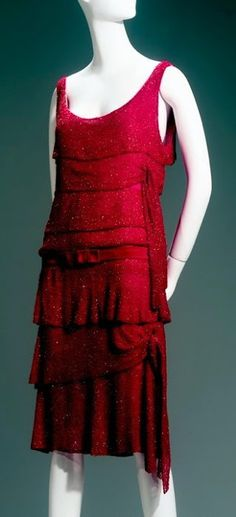 ~Chanel Dress - 1925 - House of Chanel (French, founded 1913) - Design by Gabrielle 'Coco' Chanel (French, 1883-1971) - Crystal beads on silk chiffon - Mademoiselle Chanel loved bright red, which she used for day and evening wear - Arizona Costume Institute~