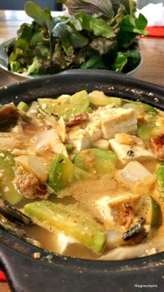 뚝배기 된장찌개, Soy bean soup in hot stone pot Yes! This is my weekend choice for brunch ! Korean style of brunch is just perfect to me. I put tofu, zucchini, onion and seafood. So clean and deep soy taste. Great !!!   주말 한식 브런치 ! 된장찌개를 먹어보아요.   #brunch #soybeansoup #Koreafood