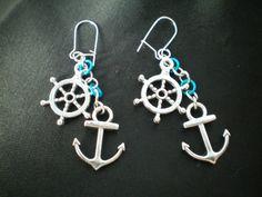 Pirate earrings, ships wheel earrings, anchor earrings, nautical silver charms, chain link earrings. gift for her, blue dangle earrings.