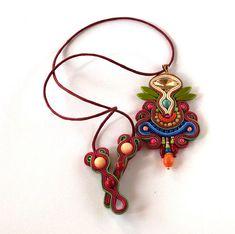 Soutache bead loom gemstone beaded jewellery by ArtWKluk on Etsy Soutache Pendant, Soutache Jewelry, Beaded Jewelry, Unique Jewelry, Jewellery, Summer Jewelry, Loom Beading, Boho Necklace, Beautiful Necklaces