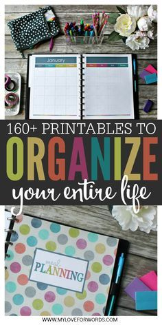 Life can be hectic, but being organized can help. With more than 164 printables, you can create an organized life and keep track of everything.