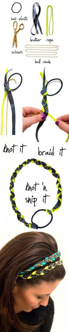 DIY: Quick Easy Braided Headband - DIY: Quick Easy Braided HeadbandYou will need :Hair elastic, Leather, Rope, Scissores, Ball chainYou Should also see :DIY : Make a Containers From RopeDiy : Make a Children Cardboard TableDIY : Mak Do It Yourself Jewelry, Do It Yourself Fashion, Diy Headband, Braided Headbands, Headband Tutorial, Crafty Craft, Crafting, Diy Projects To Try, Diy Hairstyles