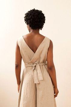 Creative Genius: The Etsy Design Awards Black Linen, Striped Linen, Smock Dress, Wrap Dress, Japanese Apron, Designer Jumpsuits, Long Ties, Cool Fabric, Vintage Bohemian