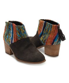 TOMS Chocolate & Orange Suede Stripe Leila Ankle Boot | zulily