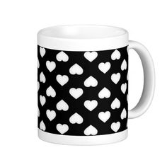 White hearts pattern on black mugs. Customizable.  #heartwarestore http://www.zazzle.com/white_hearts_pattern_on_black_mugs-168869801870018680?CMPN=addthis&lang=en&rf=238590879371532555&tc=pinHTMwhiteheartsonblack