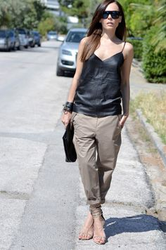 A perfect pairing, cargo pants + summer leather. www.stylestaples.com.au