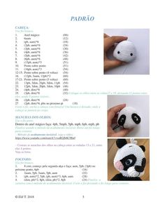 How to crochet panda amigurumi step by step with recipe how I do it, step by step handwork, creativity techniques, cool things to do, game… Crochet Panda, Crochet Cow, Crochet Girls, Crochet Animals, Crochet Jewelry Patterns, Crochet Patterns Amigurumi, Amigurumi Doll, Educational Activities, Activities For Kids