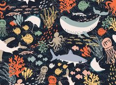 Marine Life Seamless Vector Pattern by origamiprints on @creativemarket