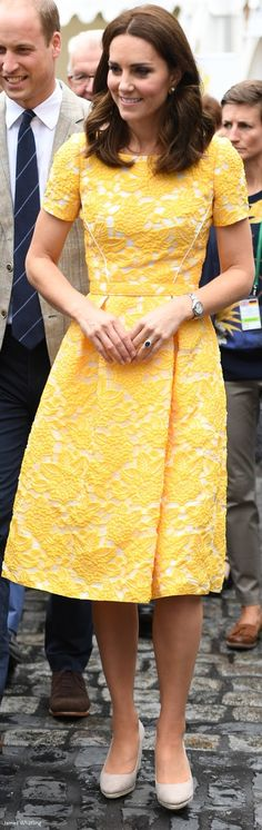 Kate in Germany, 2017. Jenny Packham dress