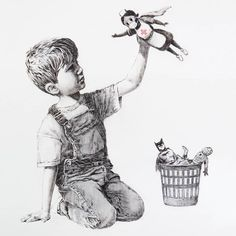 """""""'A new Banksy artwork has appeared at Southampton General Hospital in the UK. It shows a young boy kneeling by a wastepaper basket. He has discarded his Spiderman and Batman model figures in favour of a new favourite action hero - an NHS nurse. Banksy Graffiti, Bansky, Street Art Banksy, Batman Et Superman, Spiderman, Banksy Paintings, Banksy Artwork, Banksy Posters, Southampton"""