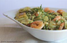 ravioles sautées au wok, asperges et crevettes aux influences thaï