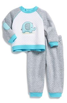 Little Me 'Elephant' Quilted Sweatshirt & Pants (Baby Boys) available at #Nordstrom