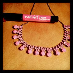 DIY neon rhinestone necklace. $2 necklace on eBay and a nail art pen. 10 minutes.