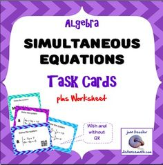 Solving Simultaneous Linear Equations Task Cards plus moreThis activity is designed for Algebra 1 or 2.   Student are to solve a pair of simultaneous linear equations.  All of the solutions are integers which enables them to be solved by elimination, substitution, or graphing method. .Included:   * Task Cards:  There are two sets of 16 cards, one with QR codes and one without.