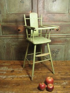 Awesome Old Painted Wooden Doll High Chair $120