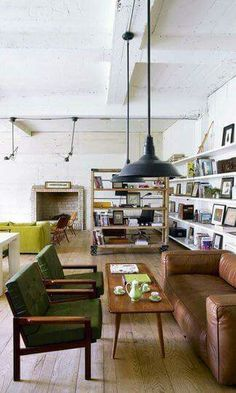 Loft style livingroom.  Salon w stylu loftowym.