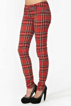 Tartan Skinny Jeans