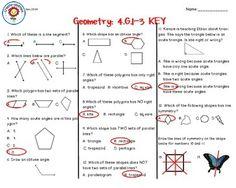Geometry Test 4th Grade