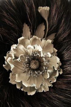 Beige Leather flowers poppy corsage flower by ArtFlowerBoutique