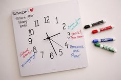 Dry erase clock and only costs about 5 dollars to make, this site is full of dollar store craft ideas