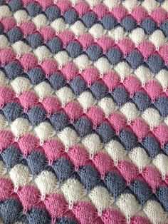 """Pink, cream and grey """"treetops"""" blanket"""