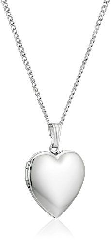 Sterling Silver Polished Heart Locket Pendant Necklace. Sterling silver necklace with heart-shape locket to store a treasured photo. Textured bail. Curb chain with spring-ring clasp. Domestic.