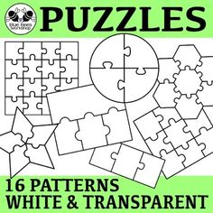 Use these blank puzzle templates to create activities and add variety to your worksheets! This set includes 16 puzzle patterns (squares, rectangles, circles, hexagons, strips, donut, and star) each one in white and outline/transparent.50% off for the first 2 days! $3.25
