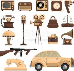 Retro objects set with a car a microphone and a camera flat isolated vector illustration