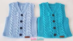 Season ' s trendiest Baby Cardigan Vest tricô modelos Baby Boy Vest, Baby Cardigan, Knit Vest, Baby Hats, Baby Knitting Patterns, Newborn Crochet, Crochet Baby, Crochet Hood, Stitch Crochet