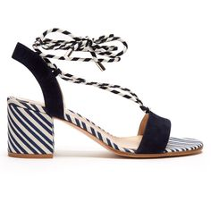 Gianvito Rossi Striped block-heel sandals ($795) ❤ liked on Polyvore featuring shoes, sandals, print shoes, color block shoes, heeled sandals, stripe shoes and wrap shoes