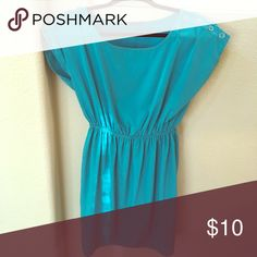 Teal cinched waist dress This lovely teal dress is so flattering and perfect with some nude wedges. Soprano Dresses