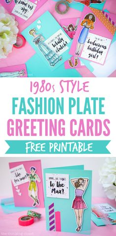 Fashion Plate Greeting Cards: A Fun Retro-Inspired Craft Project for anyone who grew up in the 1980s or 1990s - - and this step by step tutorial includes a free printable and Silhouette file so you can make your own and relive your youth!  These fab cards are guaranteed to bring a smile (and wash of nostalgia) to your recipient.  Like totally!  Fer sure!  {Smile.}
